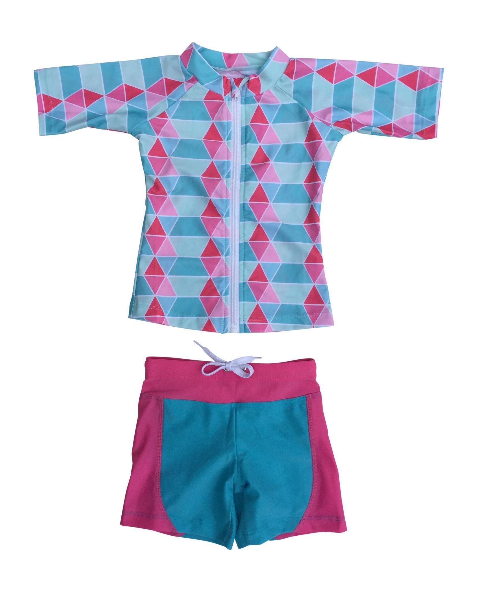 "Little Girl Short Sleeve Rash Guard Shorts Set - 2 Piece with Tankini ""Pool Party"""