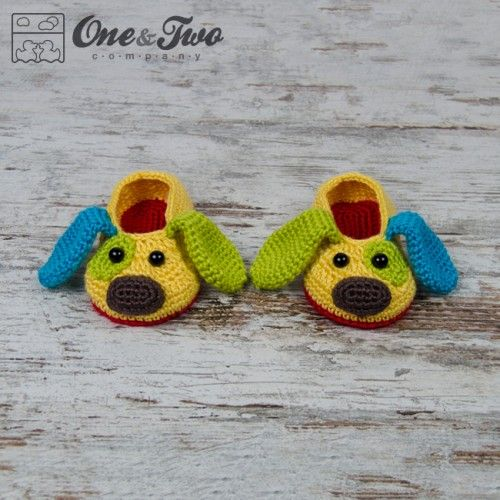 Scrappy the Happy Puppy Slippers Crochet Pattern by One and Two ...