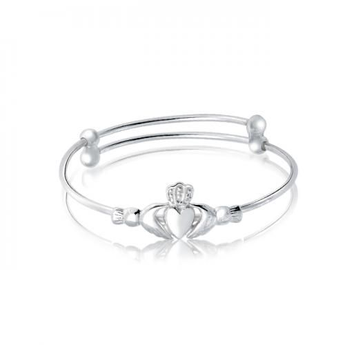 Sterling Silver Claddagh Baby Childrens Bangle Bracelet Expandable
