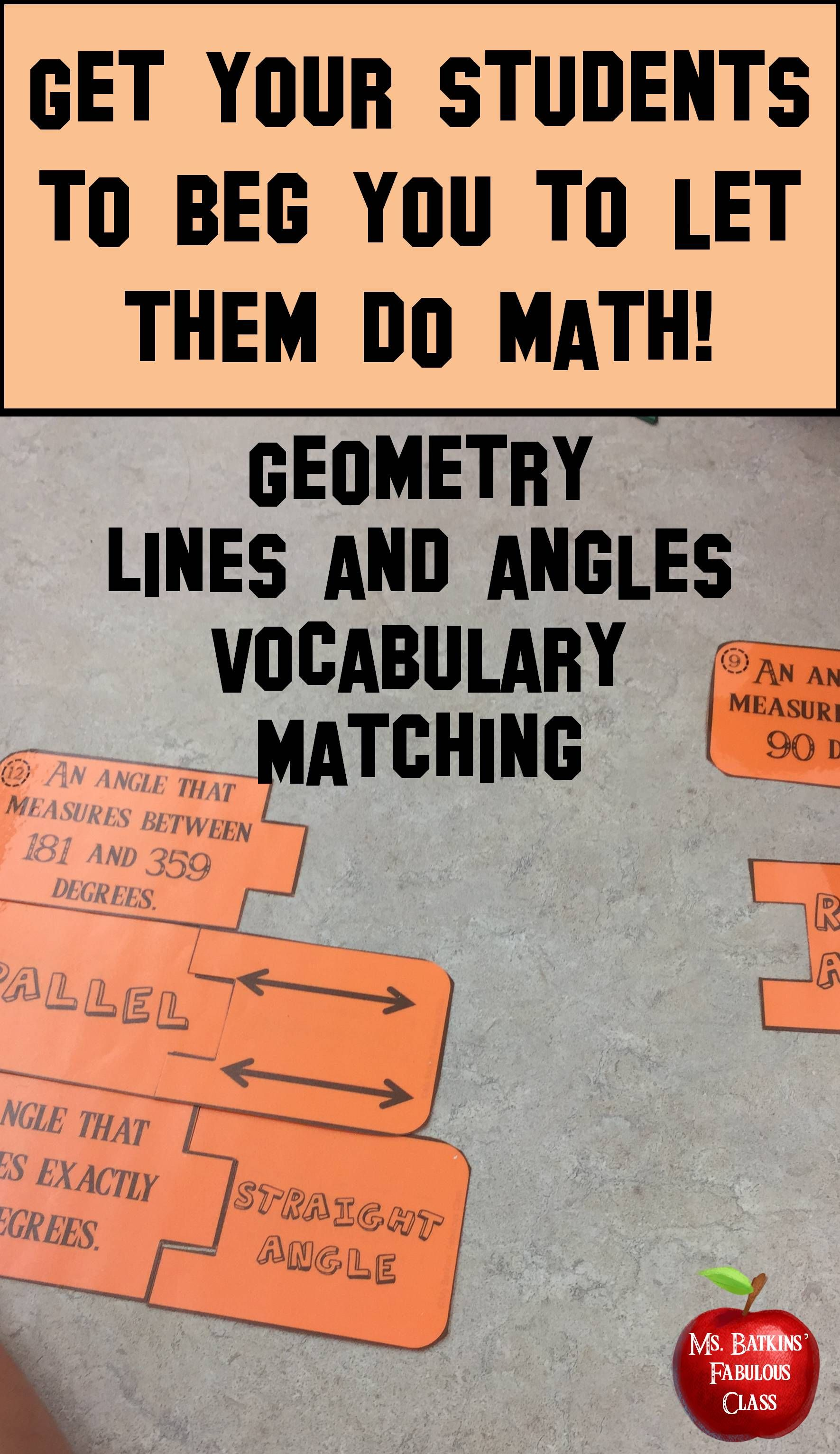 Geometry Vocabulary Lines And Angles Matching Center