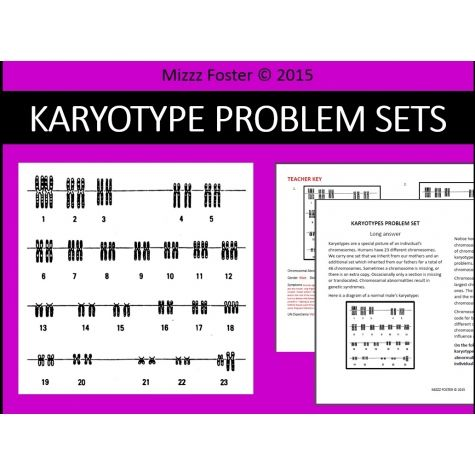 Genetic Disorders Mutations Karyotype Problem Sets Worksheets