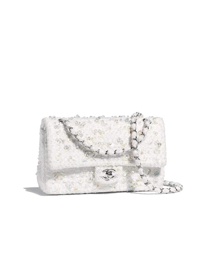 f34765d51b98 Classic handbag, embroidered tweed & silver-tone metal-white - CHANEL