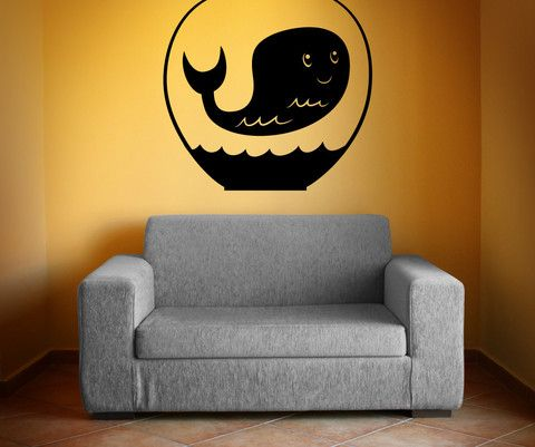 Vinyl Wall Decal Sticker Whale in Bowl #OS_MB411 | Stickerbrand wall art decals, wall graphics and wall murals.