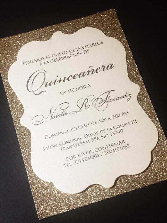 Quinceanera invitation glitter quinceanera invitations stopboris Image collections