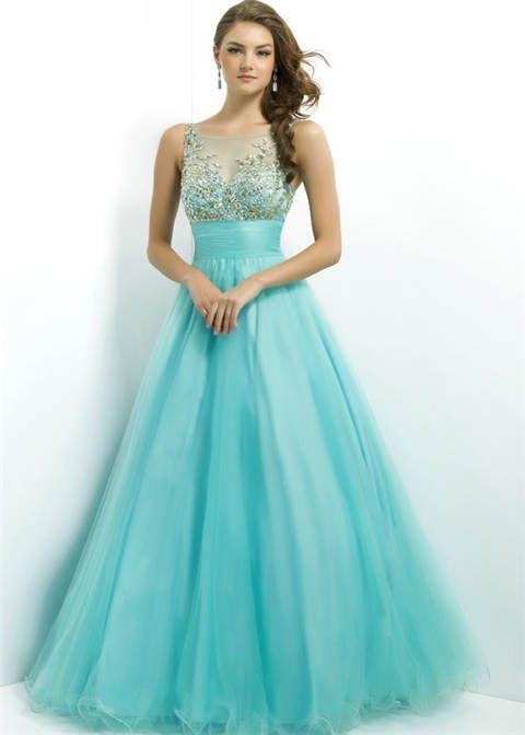 aqua-gold-beaded-sheer-ball-gown-prom-dresses.jpg | Fashion ...