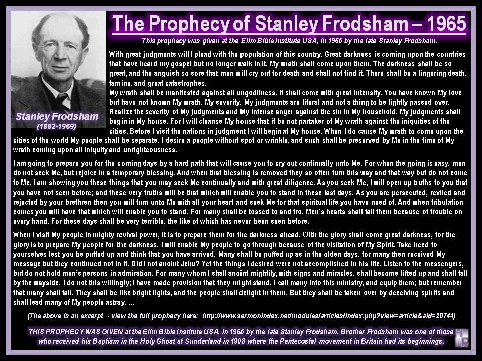 The Prophecy of Stanley Frodsham - 1965 | Prophecies, Dreams