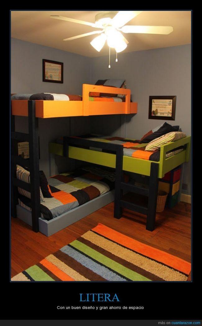 Poco espacio pero bien utilizado litera para 3 ni os con for Dormitorio ninos diseno