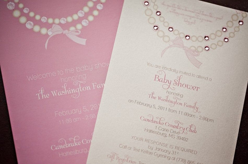 Baby Shower Invitations Elegant Diamonds And Pearls Inspired