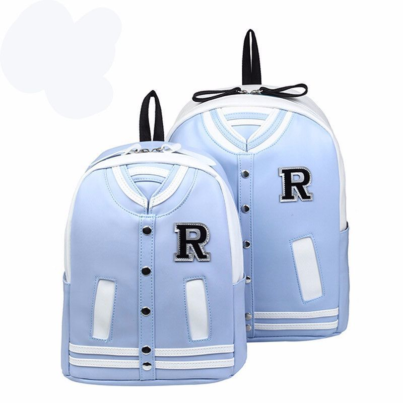 Top-Quality PU Leather Retro-Style Letter Jacket Backpack 4 Colors 2 Sizes