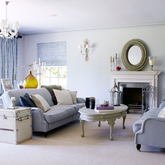 Wohnideen Wohnzimmer hellblau-Vintage Stil Haus und Hof - wohnideen wohnzimmer lila