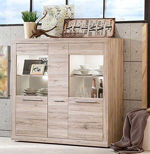 Trendteam Wohnzimmer Highboard Schrank Passat, 148 X 150 X 41 Cm In   Wandgestaltung  Wohnzimmer