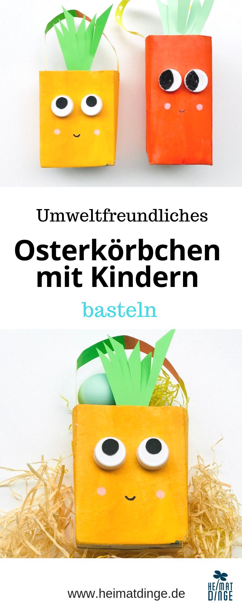 Einfache Osterbastelidee für Kinder: nachhaltigen Osterkorb basteln -