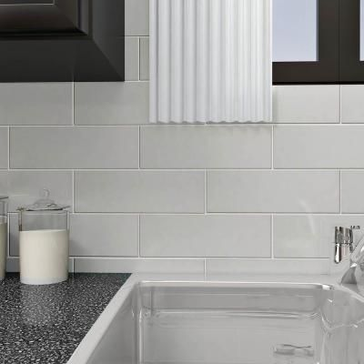 Merola Tile Tessera Grand Ice White 4 In X 12 In Glass Subway Wall Tile 10 63 Sq Ft Case Gdm4gsic The Home Depot In 2020 White Glass Tile Wall Tiles White Subway Tile Kitchen