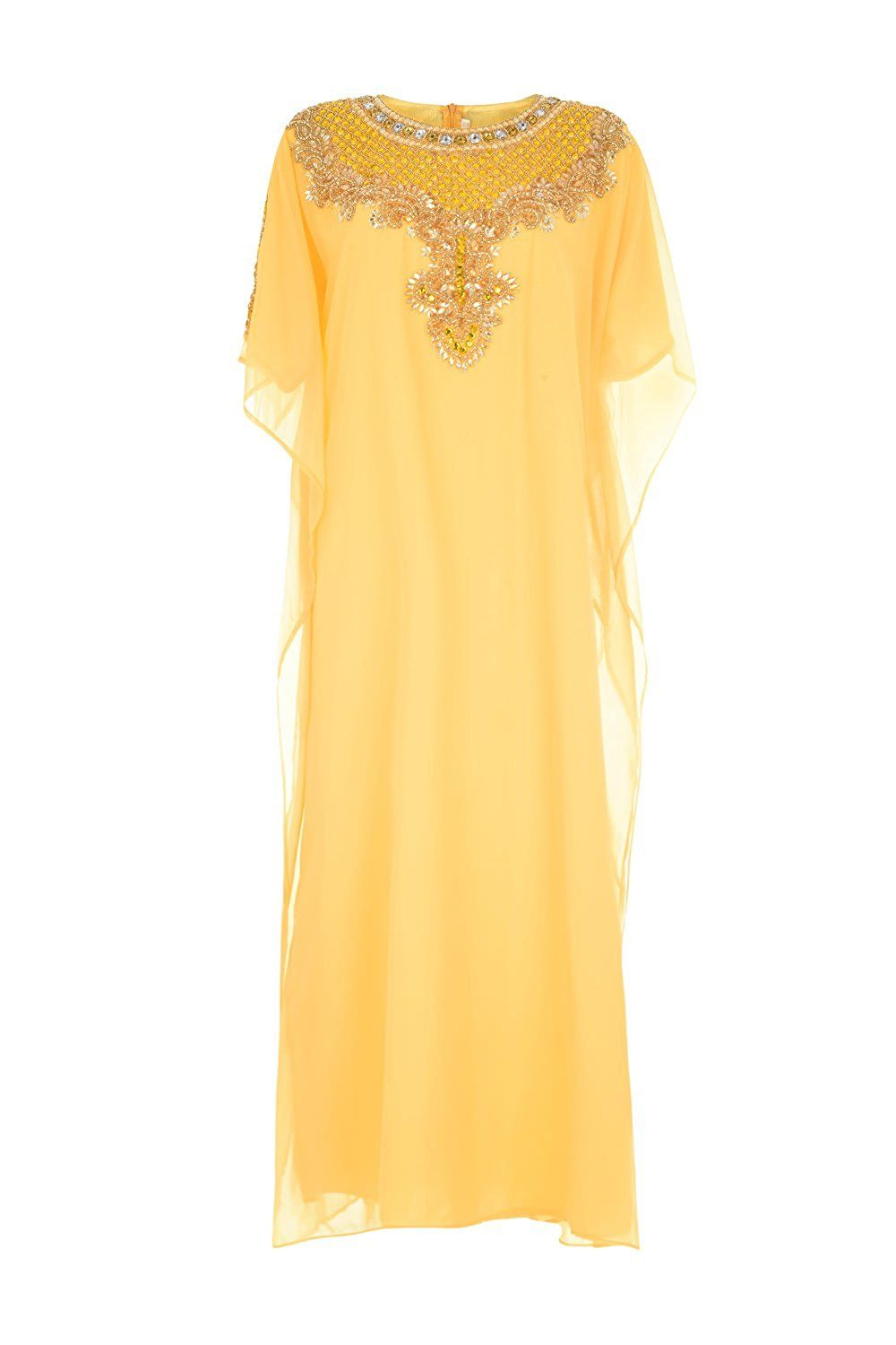 Fenghuavip womenus arab style chiffon half sleeve yellow long