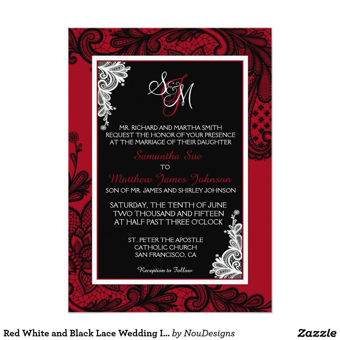 Red White and Black Lace Wedding Invitation Card | Lace Wedding ...