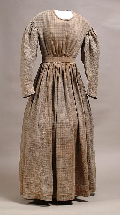 79e126930f771 Homespun dress of the Civil War era. Likely the out-of-fashion (by 1870),  simple, dress Millie (Permilia) would have worn in her poverty before  becoming ...