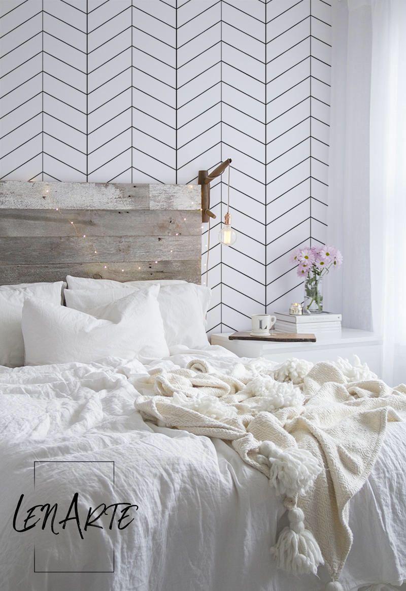 Simple Herringbone Wallpaper Black and White Pattern