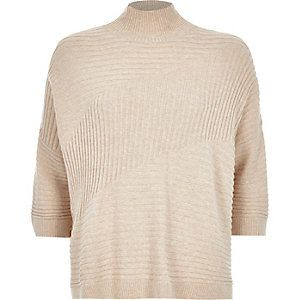 50444a71fbf Oatmeal textured ribbed high neck jumper   Galina ønskeliste - tøj ...
