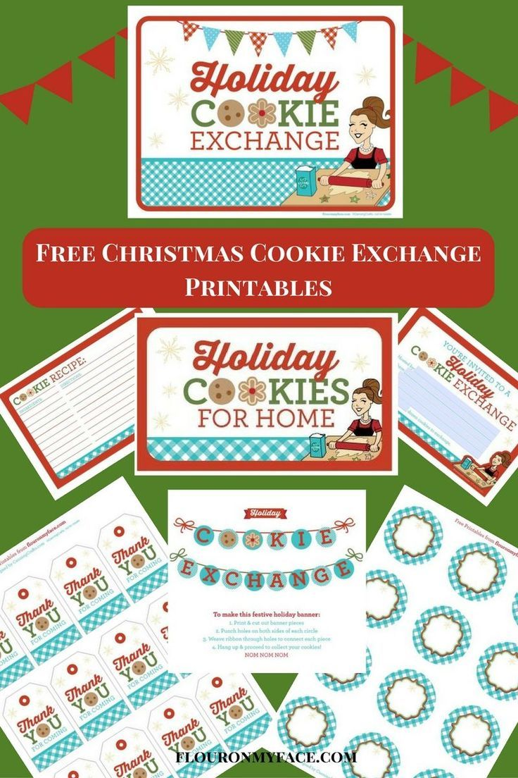 Free Christmas Cookie Exchange Printables Recipe Cards Template Cookie Exchange Cookie Exchange Recipes