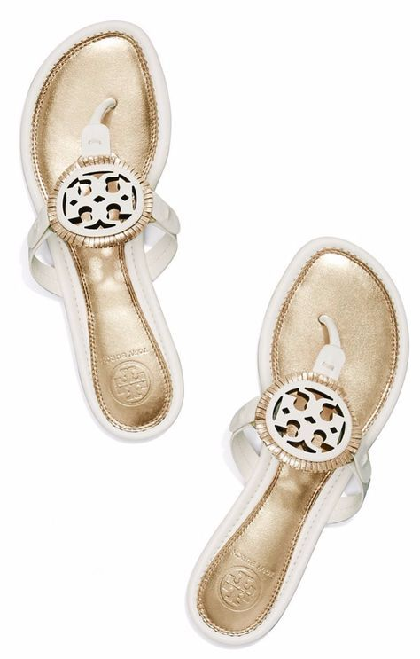 c81a0f357471 Must have - these white gold Tory Burch Miller sandals