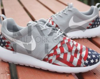 18958fa30c6af Nike Roshe Run Grey White New England Patriots V5 by NYCustoms