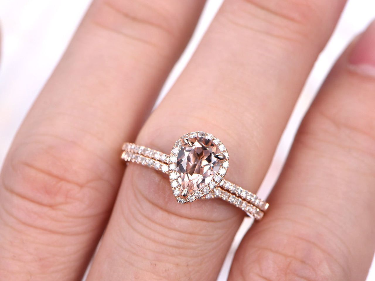 Morganite Bridal Set,Morganite Ring Set,6x8mm Pear Cut Morganite ...