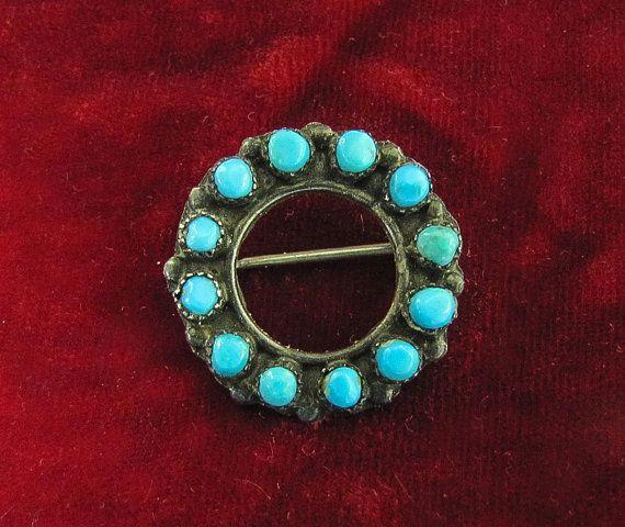 Vintage Zuni Petite Point Circle Brooch by SilverShadowShop, $45.00
