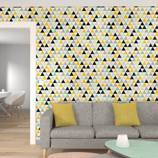 intiss triangle wood coloris multicolore wallpaper. Black Bedroom Furniture Sets. Home Design Ideas