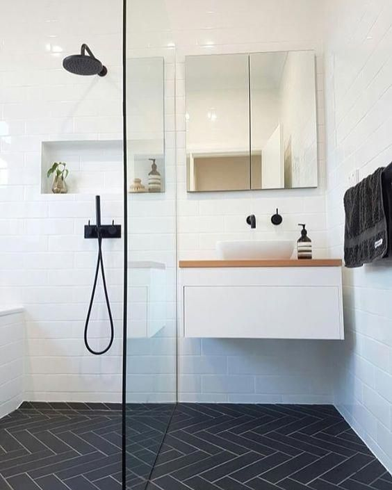 white vanity with timber table top white stand alone basin matte black tap shower head and mixer Project by  trucphamstrac Visit our website for more au