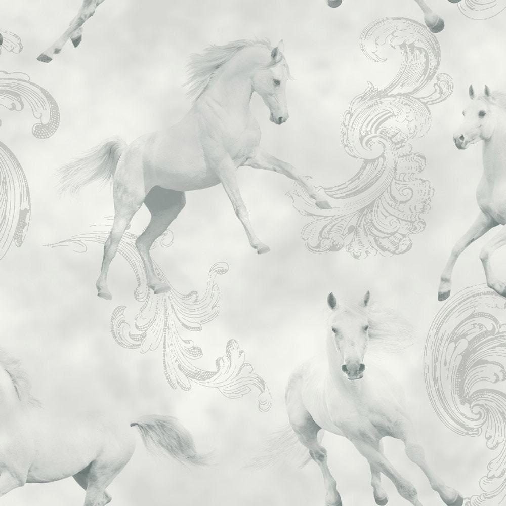 Imagine Fun Beautiful Camarillo White Horse Pale Grey Silver Glitter Horses  Wallpaper for Walls by Arthouse