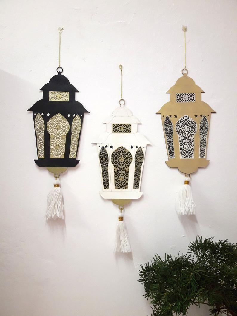 Ramadan hanging ornaments lantern from wood, decoration on