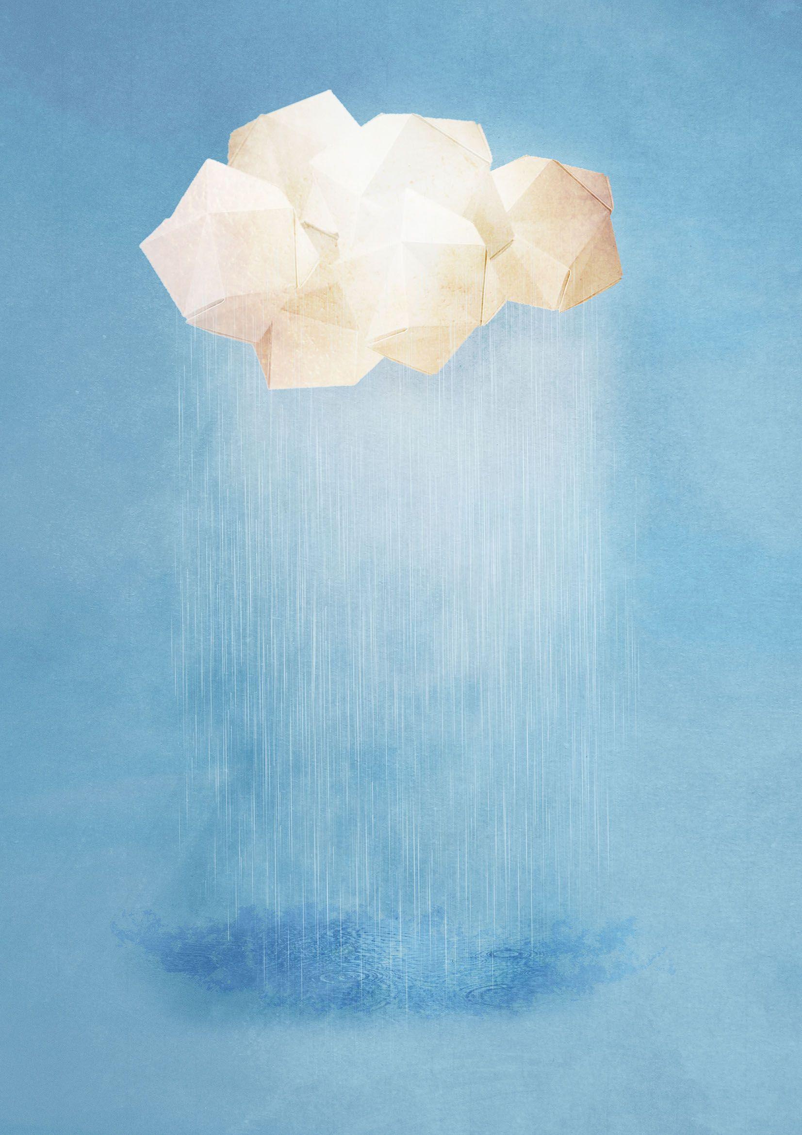 illustration of origami cloud