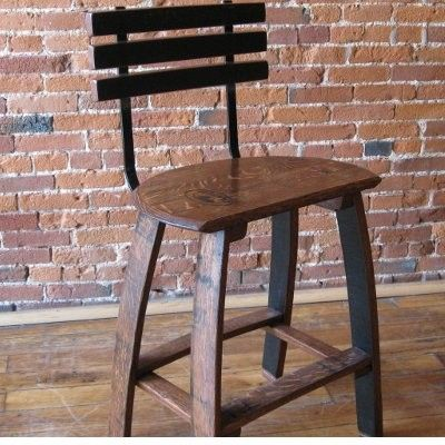Oak Barrel Head Stave Stool with Back Rest
