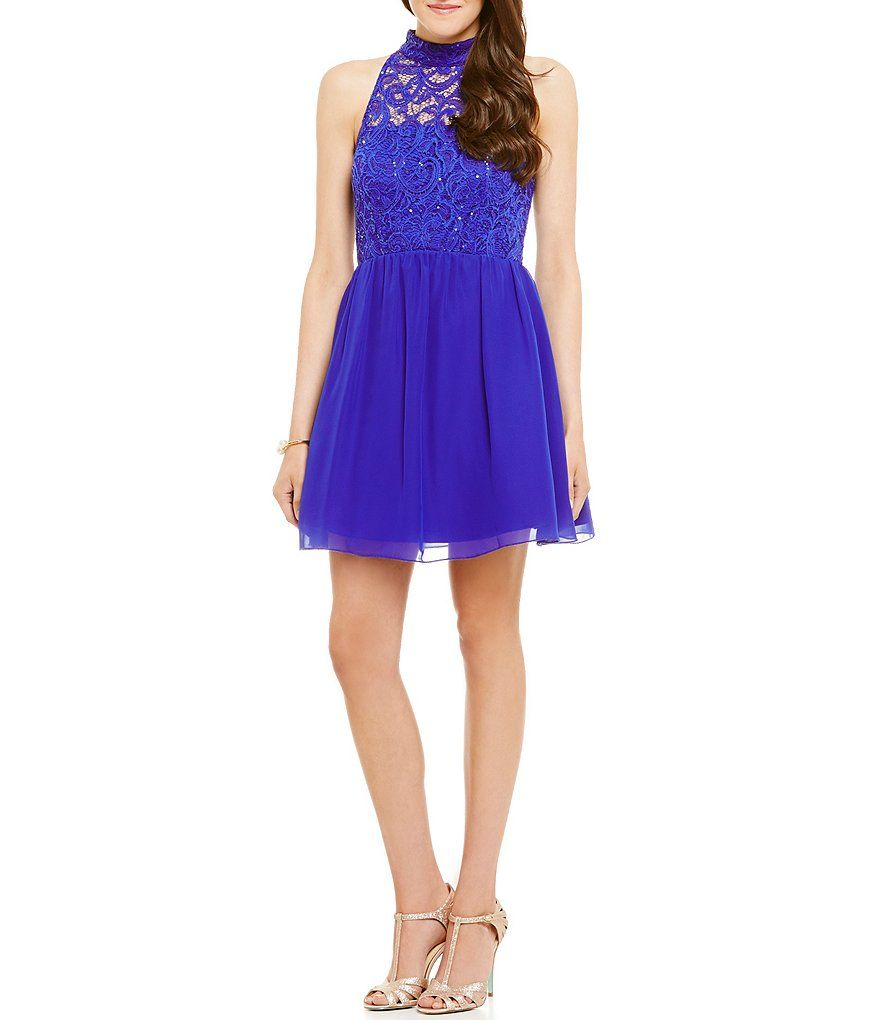 bab035cfdcc Xtraordinary Mock Neck Sequin Lace Bodice Skater Party Dress ...