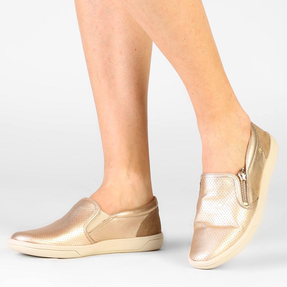 33c46ff37 Tênis Casual Cravo & Canela Slip On Zíper Ouro | Zattini | sapatos ...