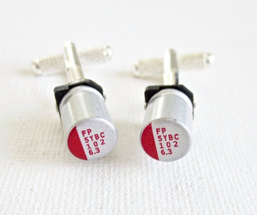 Capacitor Cufflinks Cuff Links Technology Wedding Groom Groomsmen Groomsman Gift