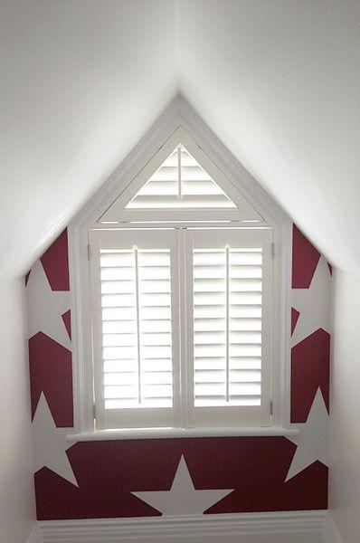Unusual Shape Shutters Triangle Window Plantation