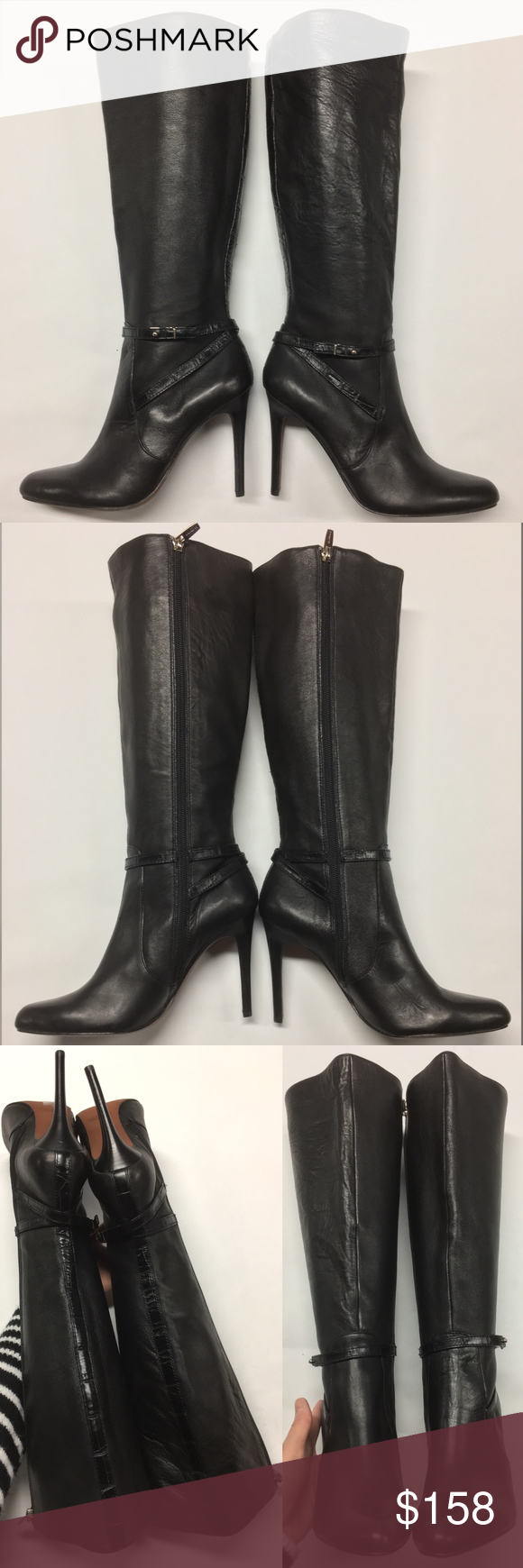 aaa3657d3b173 COACH Tall Leather Ursula Knee High Boots Heels Womens COACH Black Leather  Ursula Knee High Boots