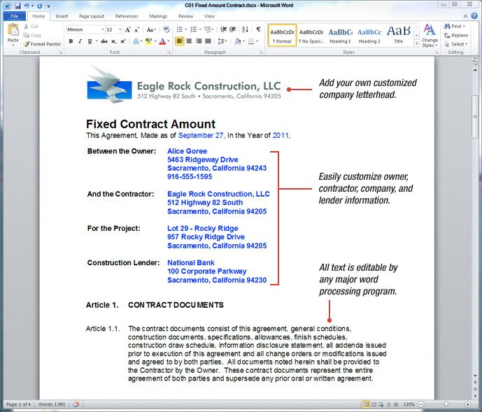 Microsoft Contract Templates Printable Sample Construction Contract Template Form  Real Estate .