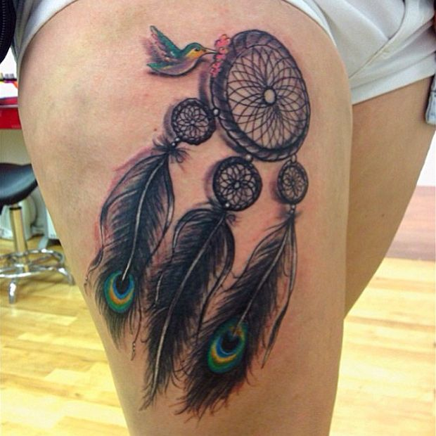hummingbird dreamcatcher tattoos on thigh. Black Bedroom Furniture Sets. Home Design Ideas