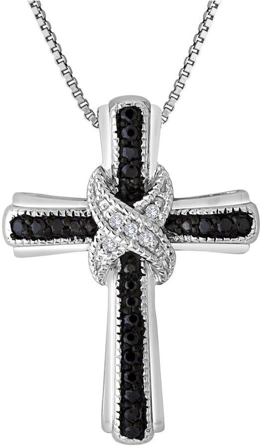 Fine Jewelry Mens 1/10 CT. T.W. Color-Enhanced Black Diamond Stainless Steel Black Ion-Plated Pendant Utlvn4