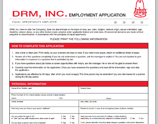 ArbyS Printable Job Application  Jobs And Careers