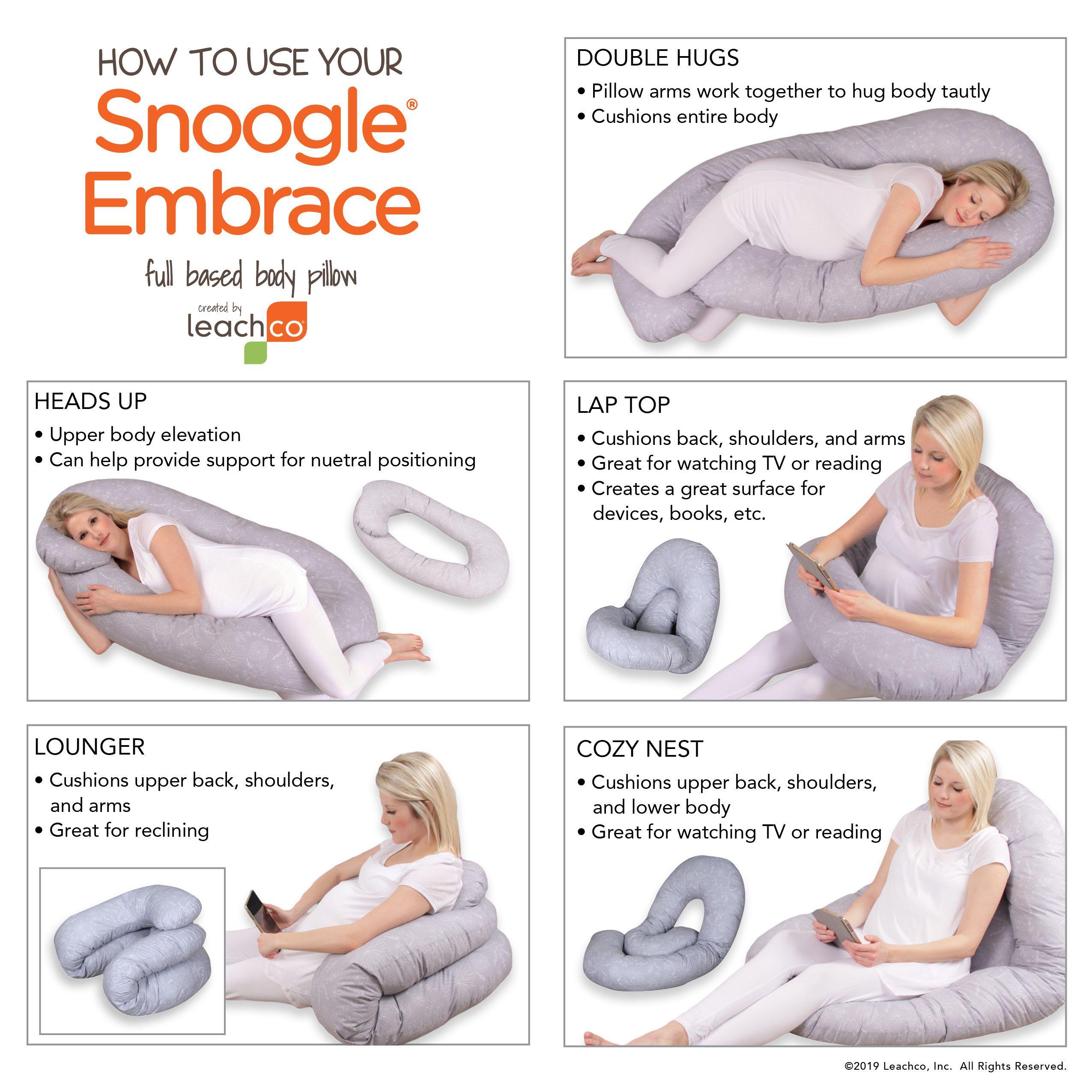 Snoogle Embrace Hug Pillow Body Pillow Snoogle