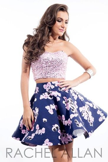 Two-piece dress with mirror beaded top and mikado printed skirt by Rachel Allan