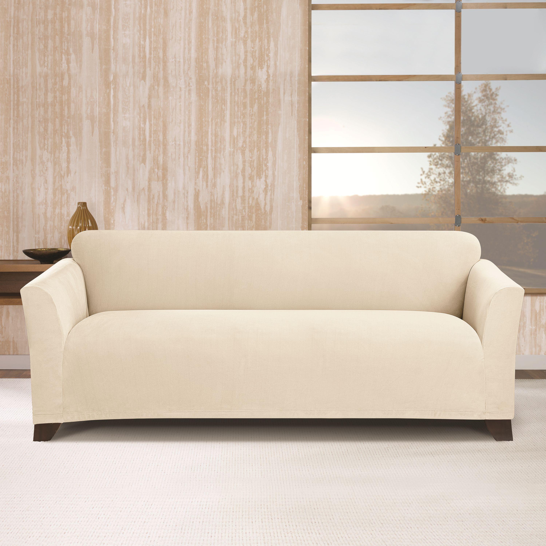 Stretch Morgan 1 Piece Sofa Furniture Cover Vogue Microfiber Reversible Chaise Sectional Reviews Sure Fit Storm Blue