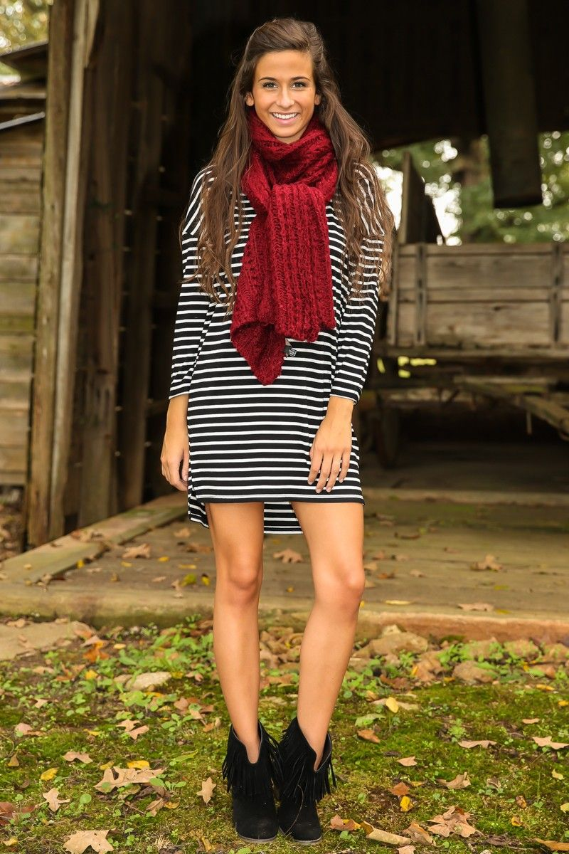black and white striped knit dress + chunky burgundy scarf
