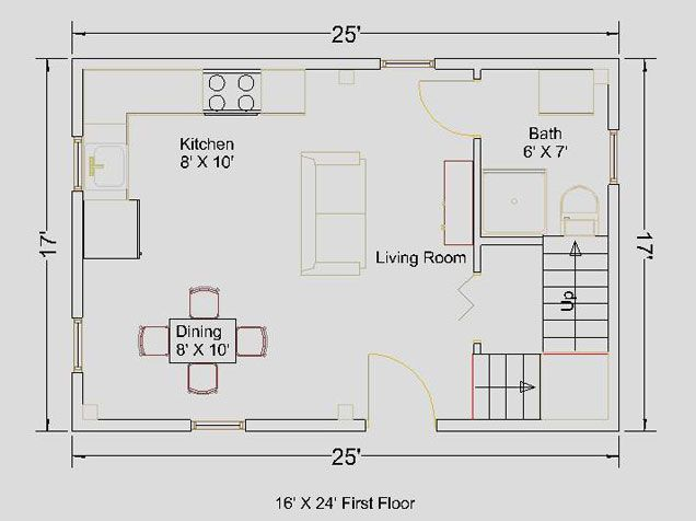 16x24 Cape First Floor Floorplan Tinyhomescabins Pinterest
