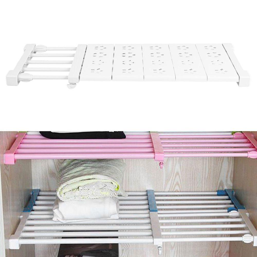 Adjule Shelf Wardrobe Storage Rack Divider Nail Free Cupboard Closet Er