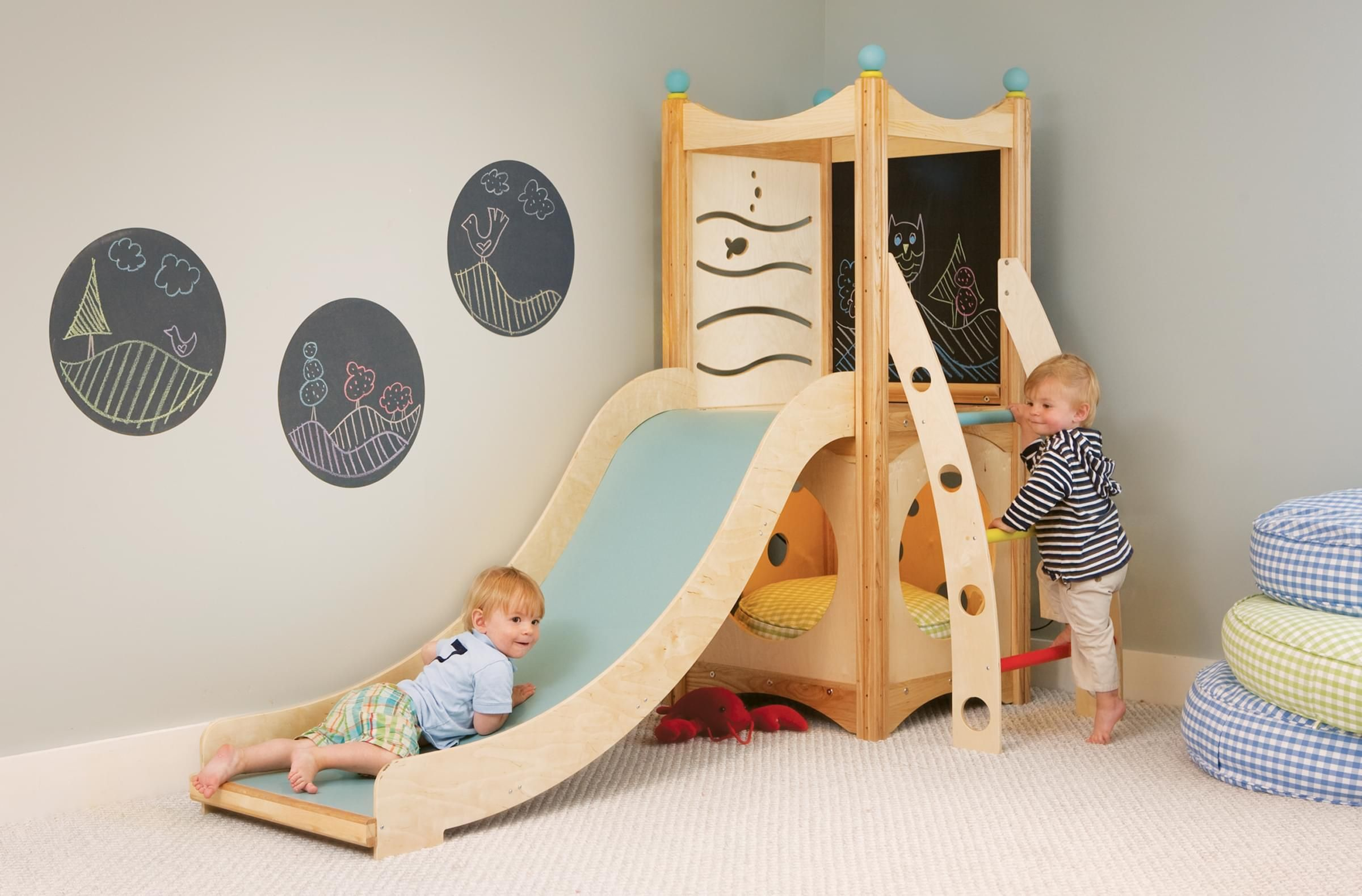 Indoor Playset 112 is from our popular line of indoor playsets, which features slides, climbers, ramps, firepoles, and more