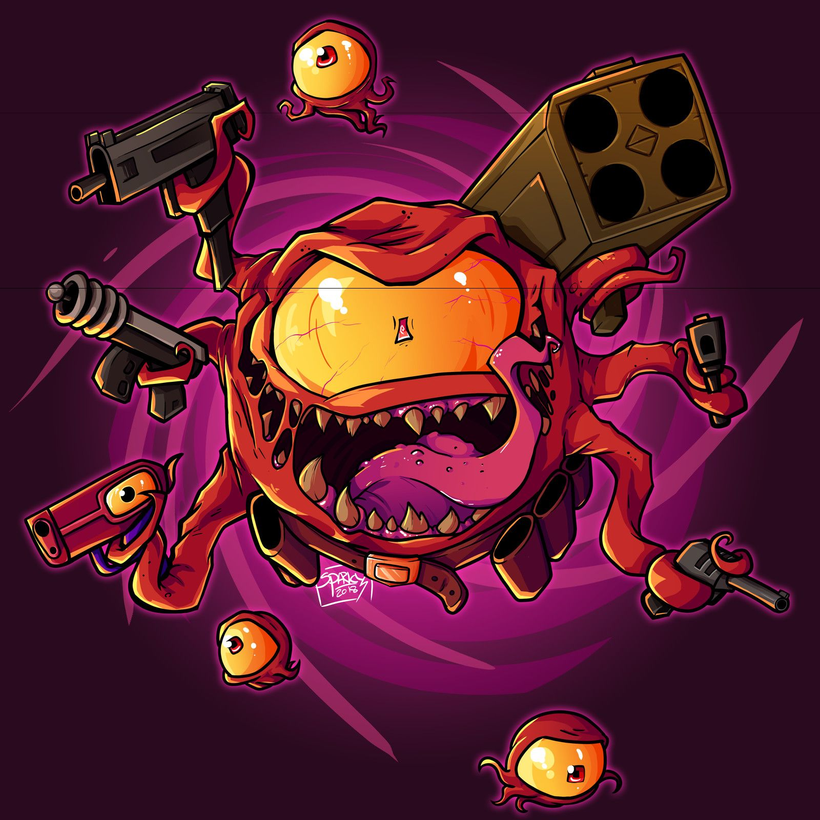 Enter The Gungeon Beholster Arky Fitzwater On Artstation At Https Www Artstation Com Artwork O8aw6 Game Art Geek Art Doodle Art